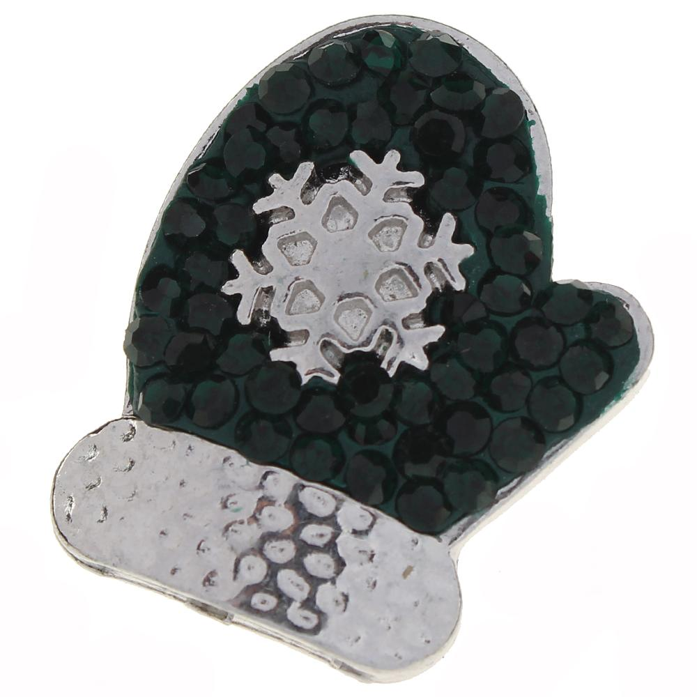 Merry Christmas green Rhinestones Gloves snaps jewelry