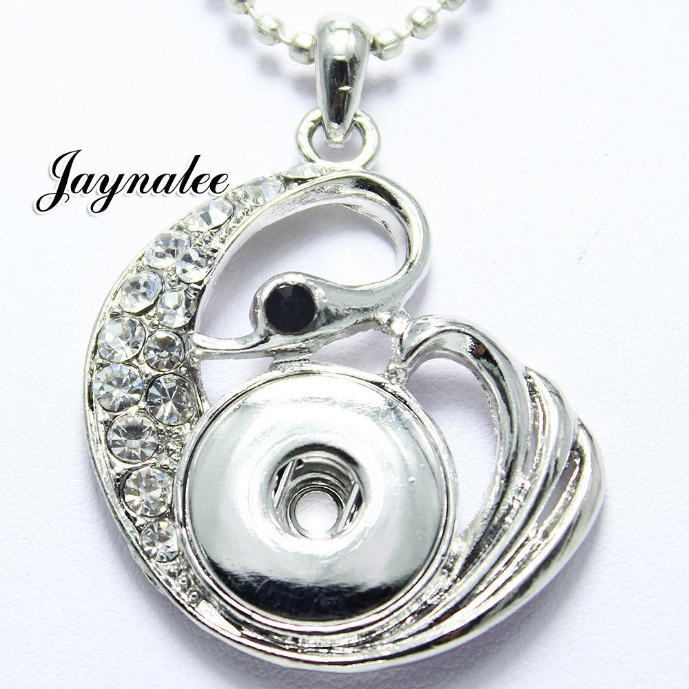 High Quality swan  white Rhinestone metal snap Pendant fit18/20mm snap buttons jewelry