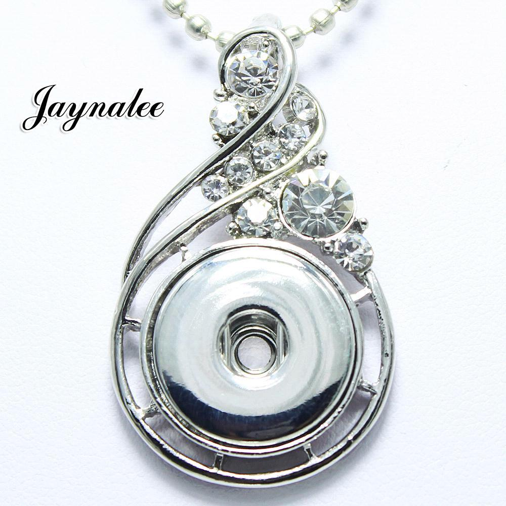 High Quality flower white Rhinestone metal snap Pendant fit 18/20mm snap buttons jewelry