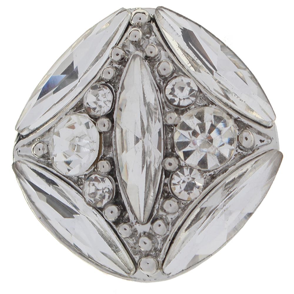 Polygon 20mm clear rhinestone flowers metal snaps jewelry