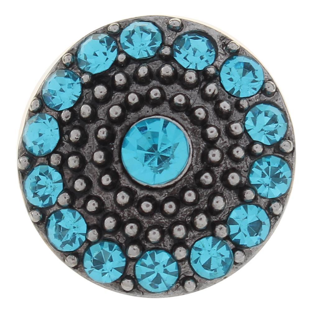 20mm blue rhinestone flowers metal snaps jewelry