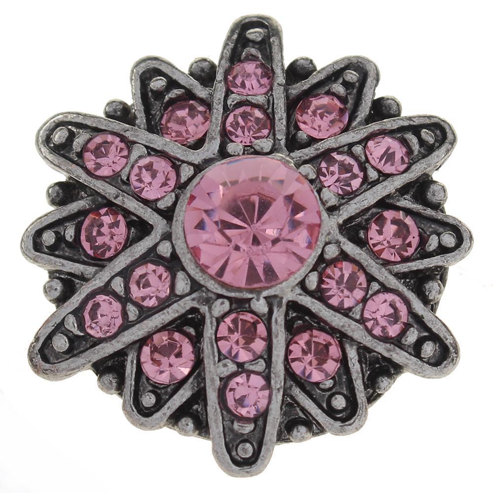 20mm pink rhinestone flowers metal snaps