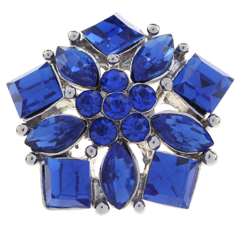Polygon 20mm blue rhinestone flowers metal
