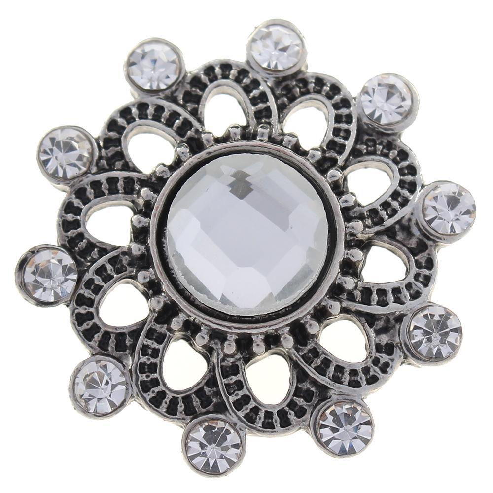 20mm white rhinestone flowers metal snaps