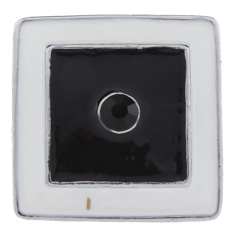 Polygon 20mm square white enamel around black enamel with black Rhinestones metal snaps