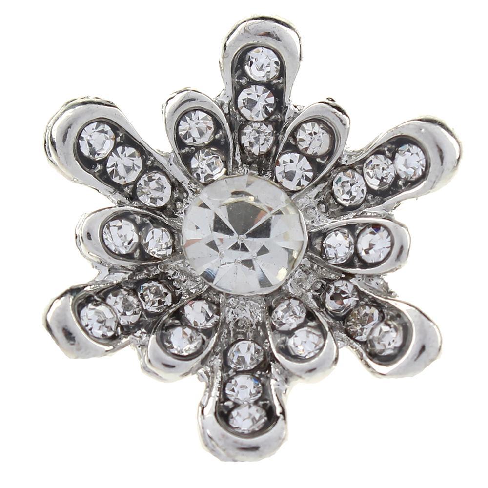 20mm  white rhinestone flowers  snaps