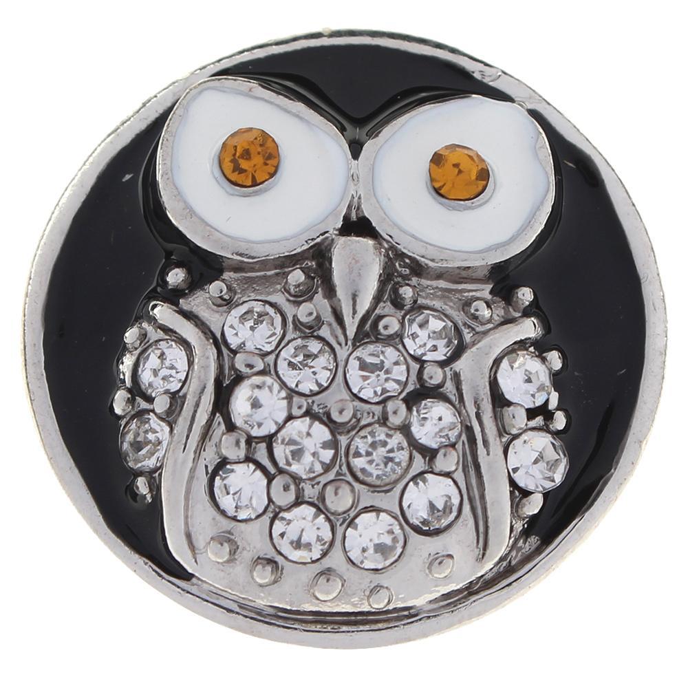 20mm black Enamel around with white rhinestone owl snaps