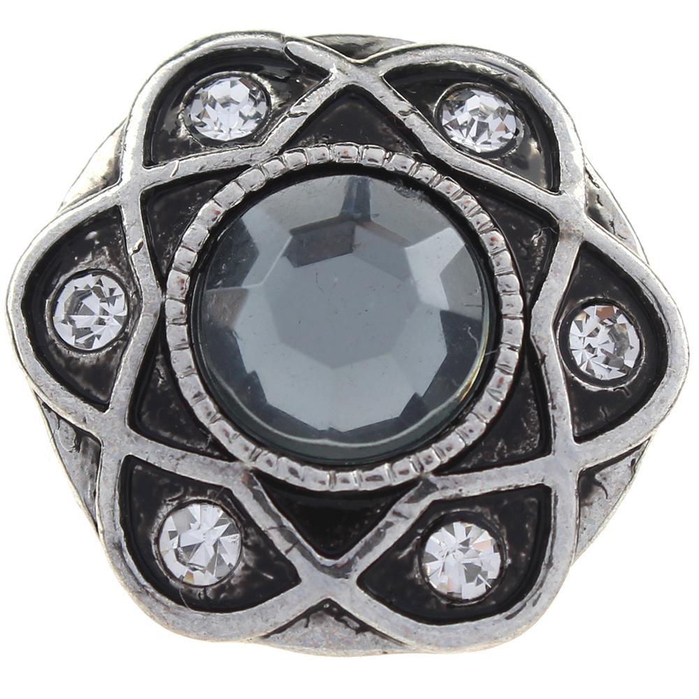 Hexagonal with white Rhinestones snaps