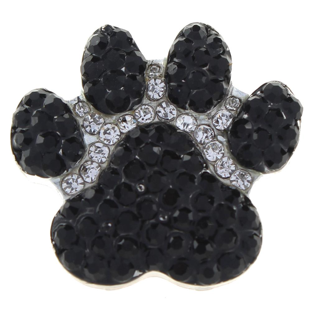 20mm Dog claws black and white Rhinestones alloy metal buttons