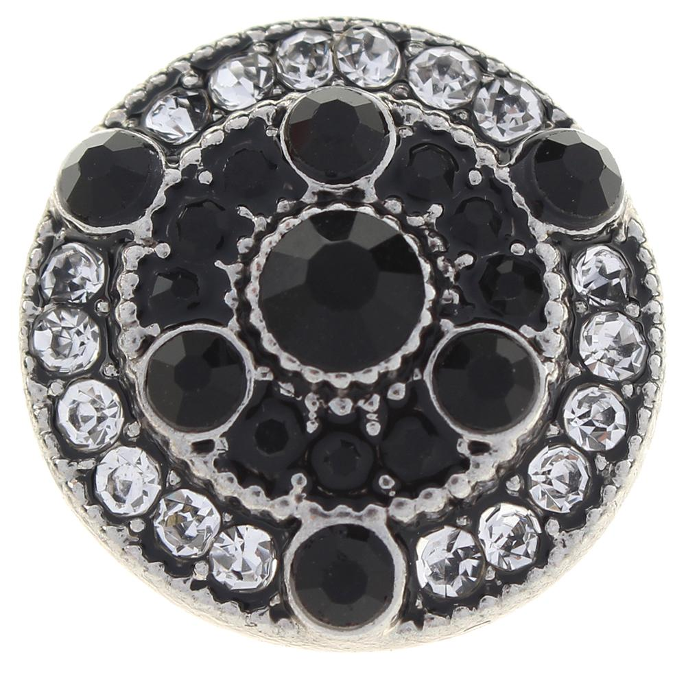 20mm black and white Rhinestones alloy metal buttons