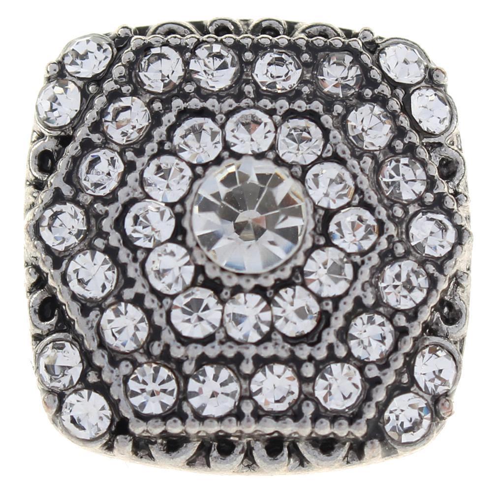 20mm Square white rhinestone flowers metal