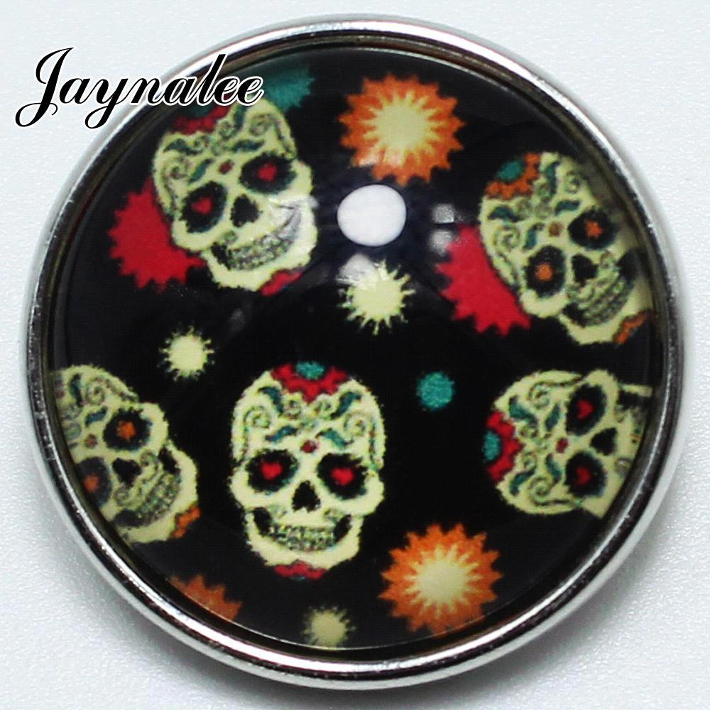 20mm button Skull head Print Glass Cover Snaps