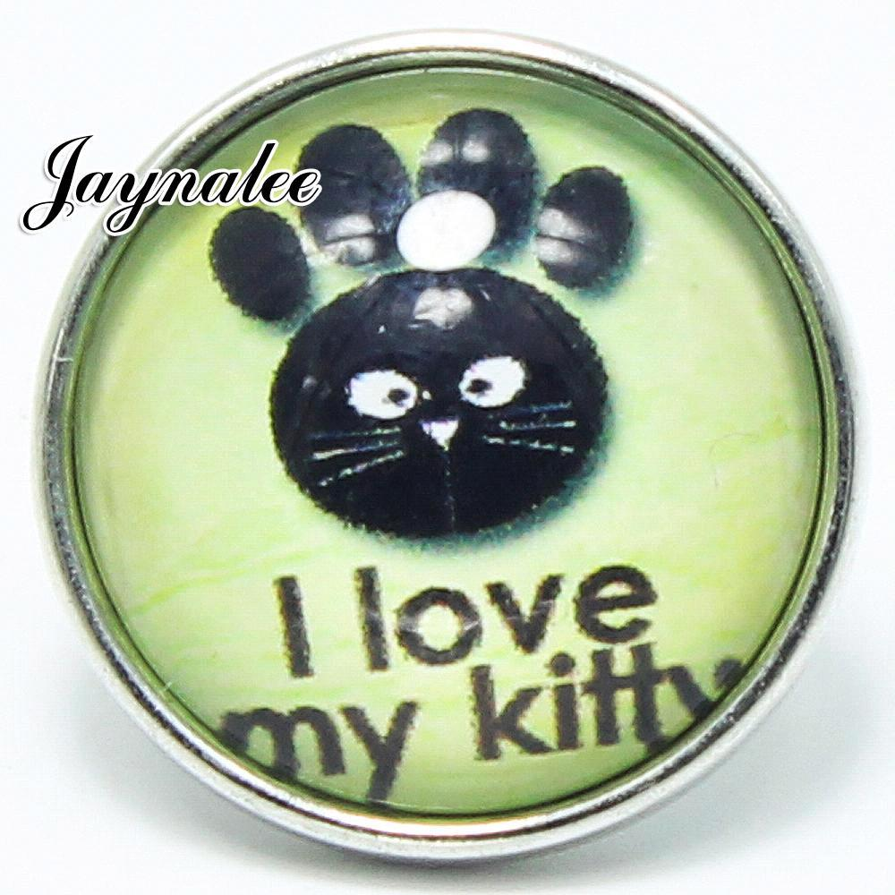 20mm button I love my kitty Print Glass Cover Snaps