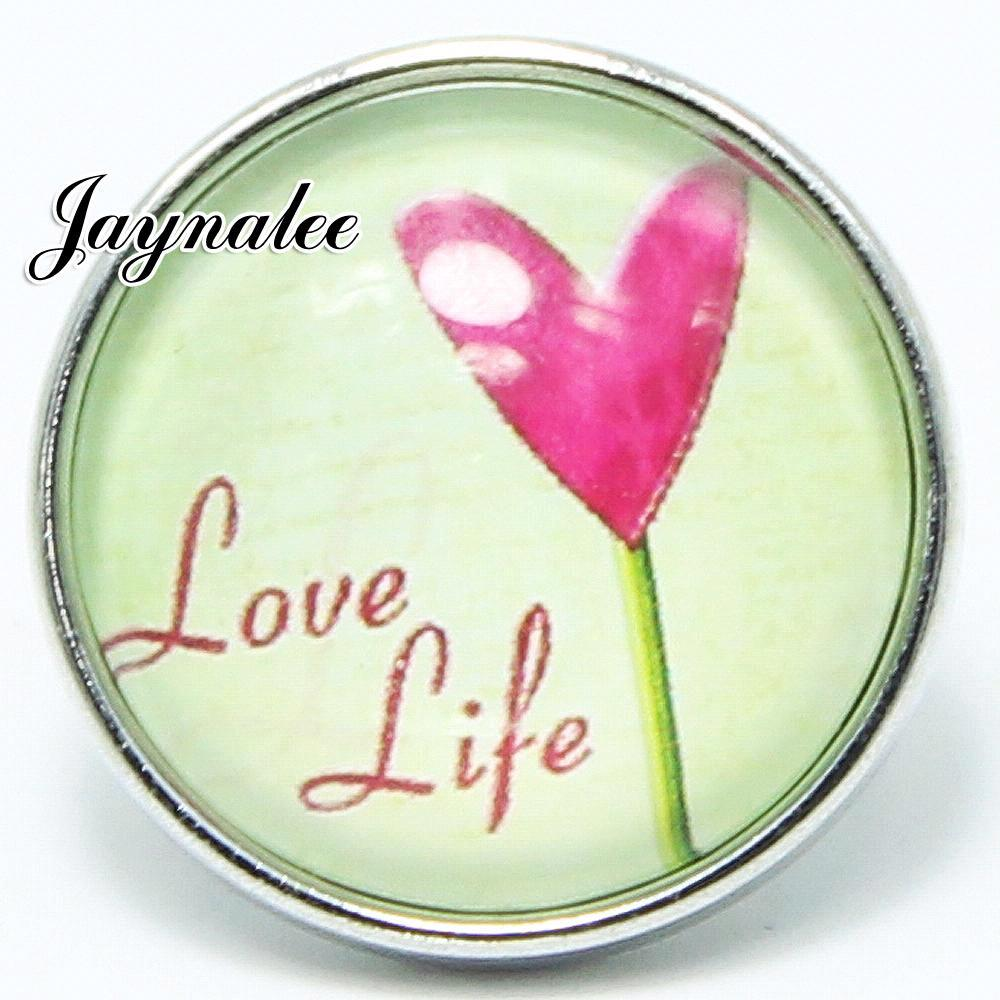 20mm button flower love life Glass Cover Snaps
