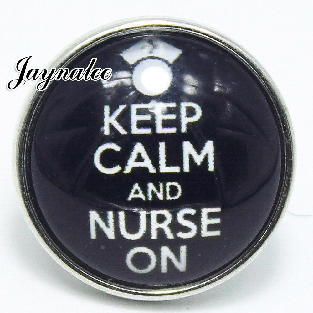 20mm button keep calm and murse on Glass Cover Snaps