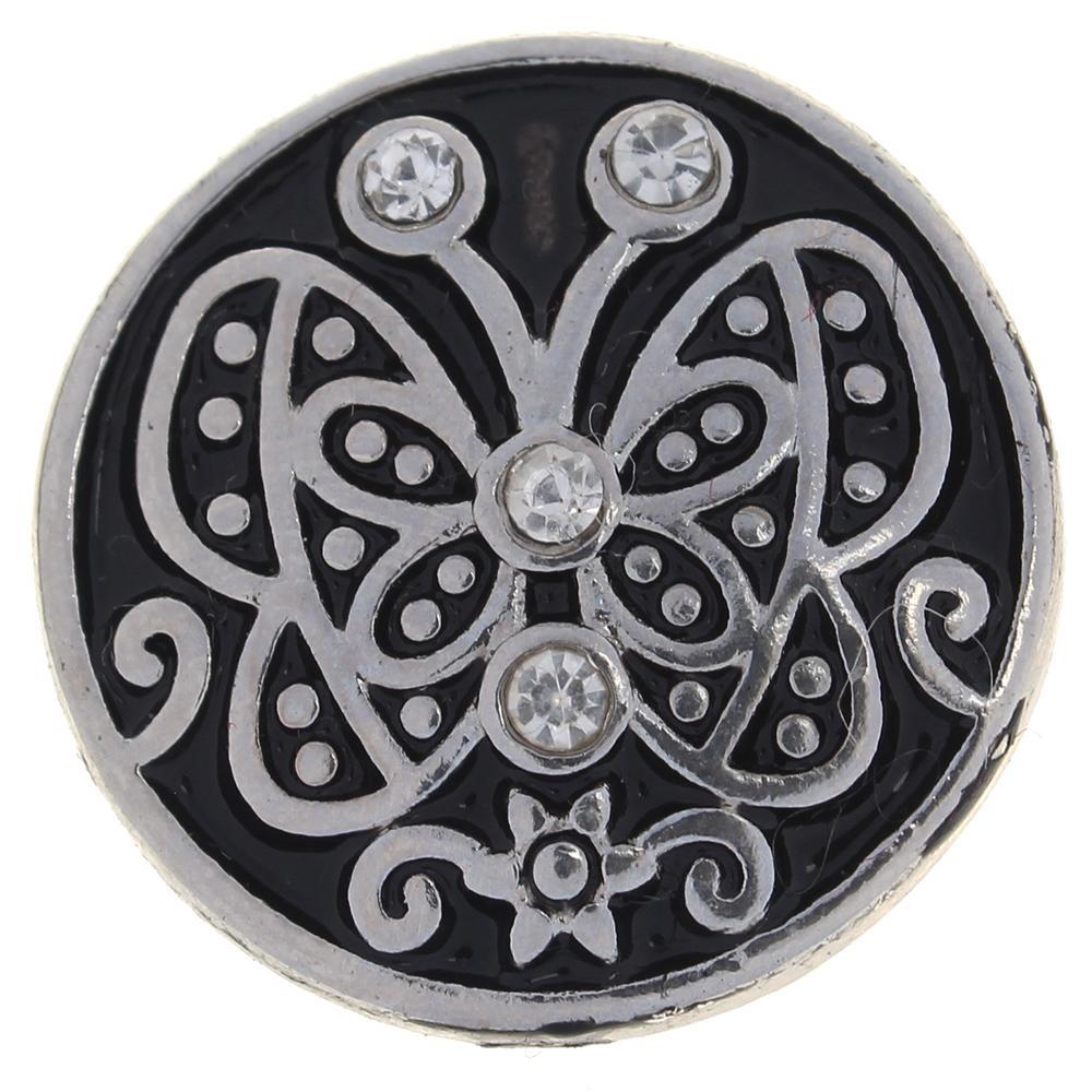 20mm clear rhinestone butterfly  metal snaps jewelry
