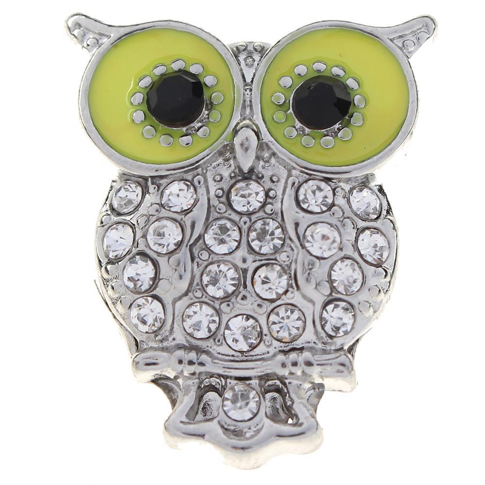 20mm clear rhinestone owl metal snaps jewelry