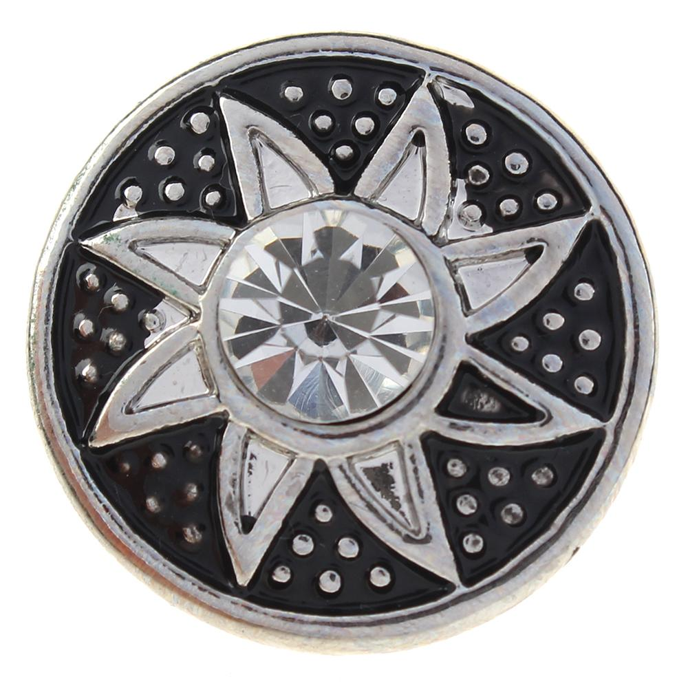 20mm blackened around clear rhinestone flowers metal snaps jewelry
