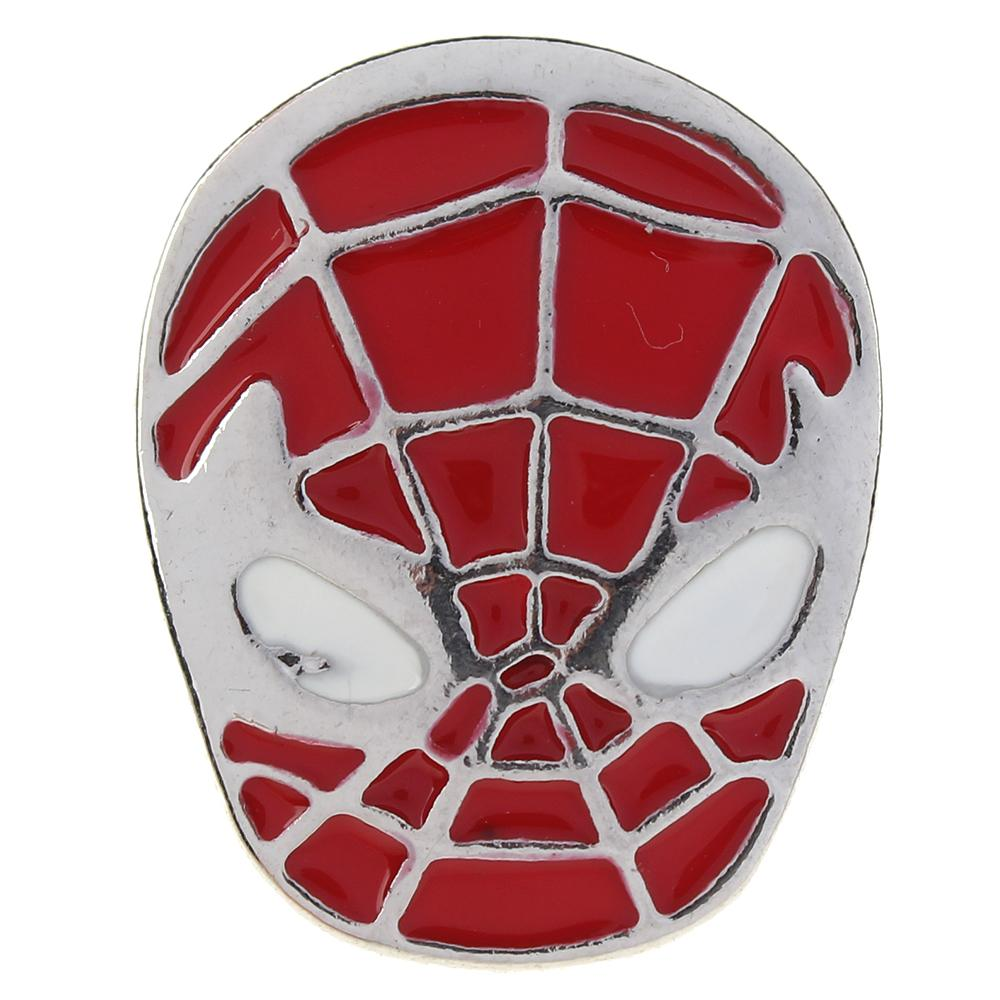 Ellipse 20mm red with white Enamel Spiderman metal snaps jewelry