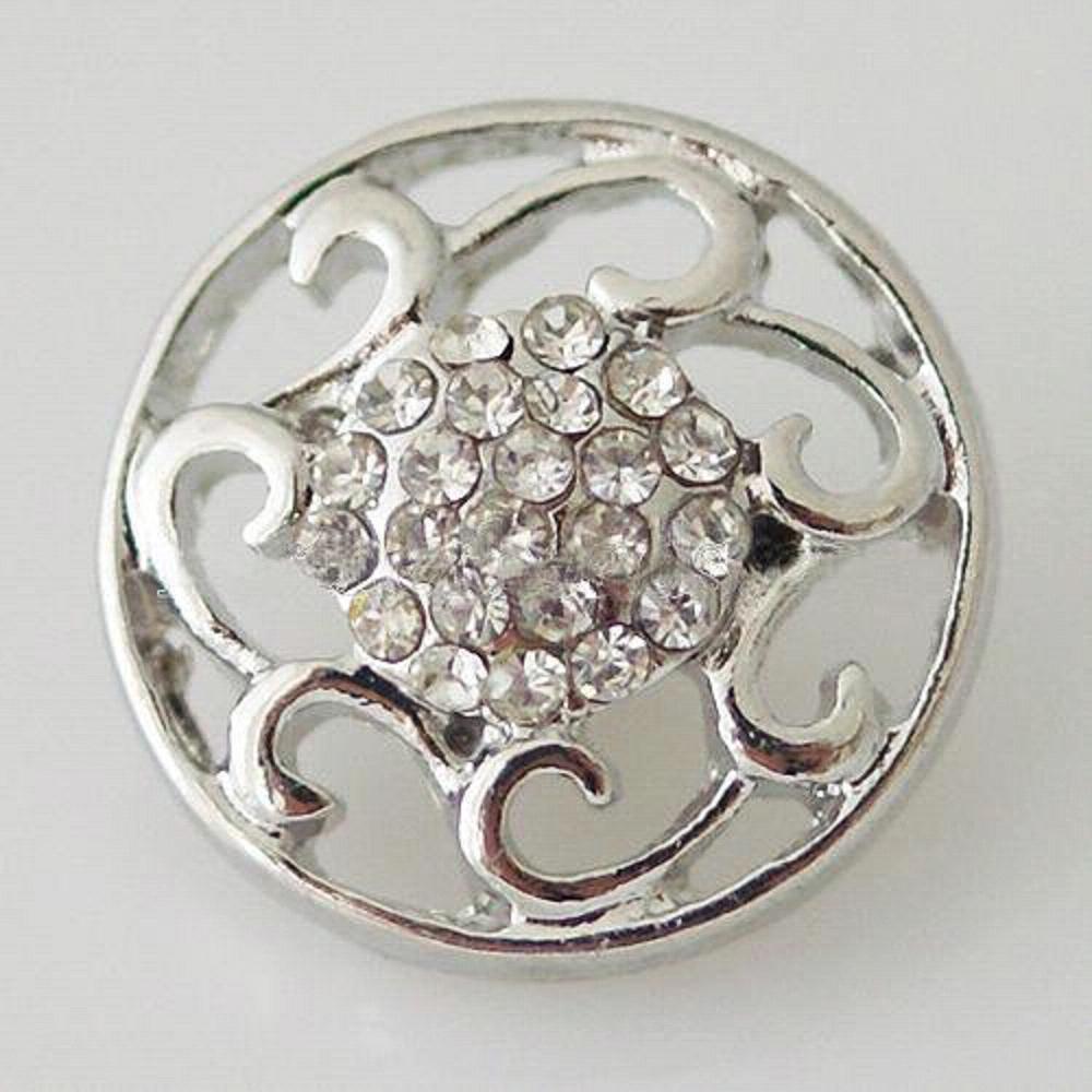 20MM flower snap white Rhinestone interchangeable snaps jewelry