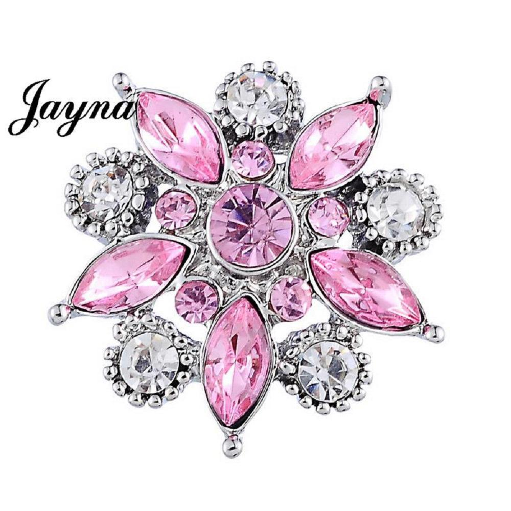 20MM flower snap white with pink Rhinestone interchangeable snaps jewelry