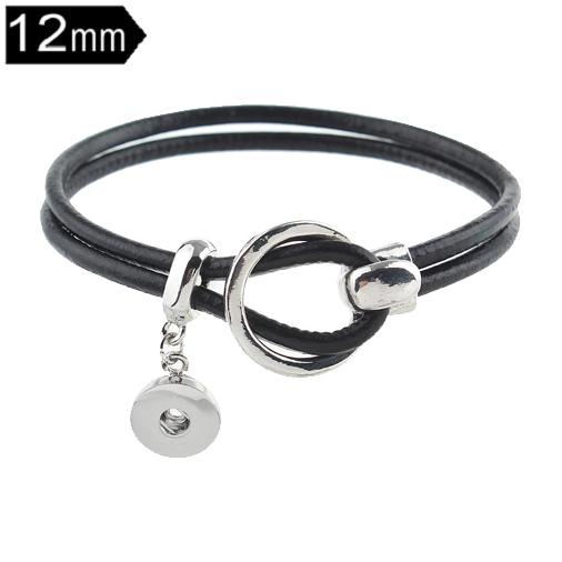 Black Leather 12mm Mini snap button bracelets