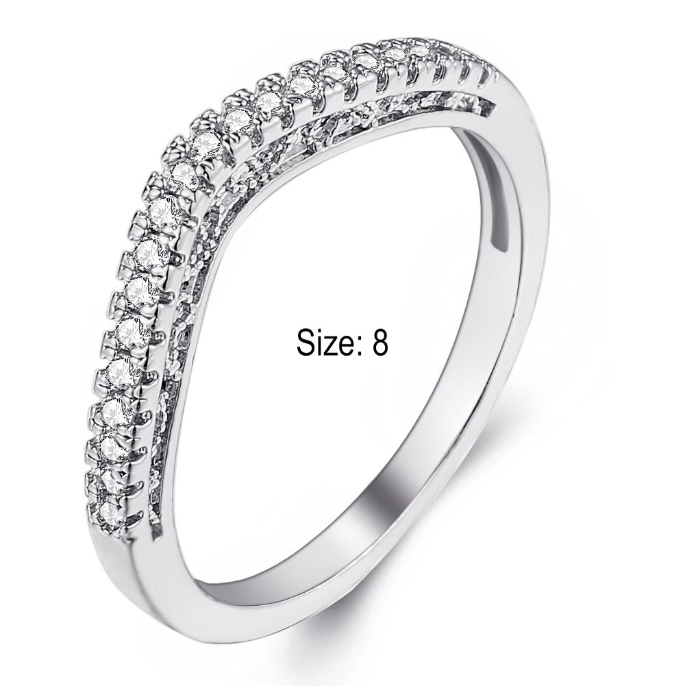 Size 8 Silve Alloy and zircon Ring