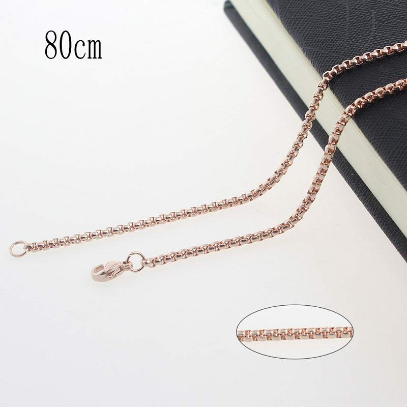80CM Stainless steel plated rose gold chain necklace Jewelry Accessories Wholesales