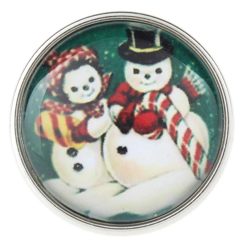 20mm Christmas snowman glass snaps jewelry